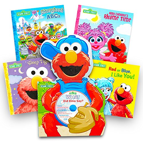 Sesame Street Elmo Book Super Set For Toddlers -- 5 Book Set (Deluxe Elmo Board Book with CD and 4 - Along Elmo