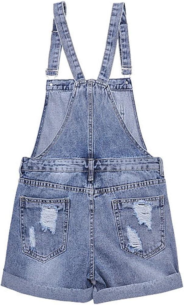 AvaCostume Womens Wash Jumper Denim Overall Shorts