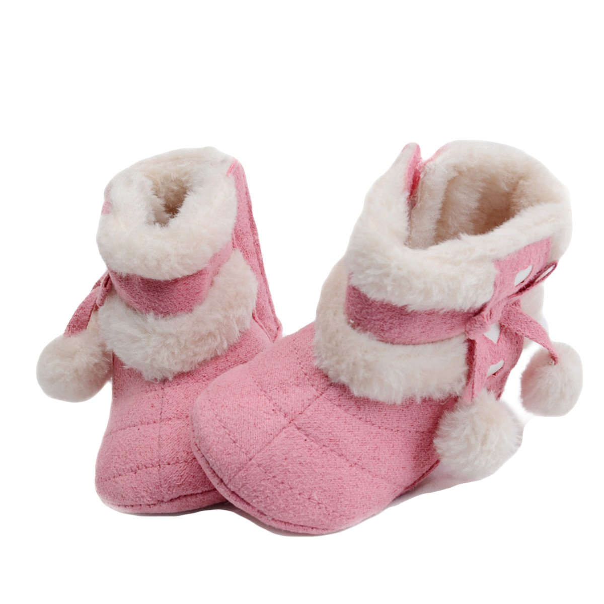 Toddler Newborn Babys Warm Snow Non-slip Boots Soft Bottom Ball Bowknot Shoes