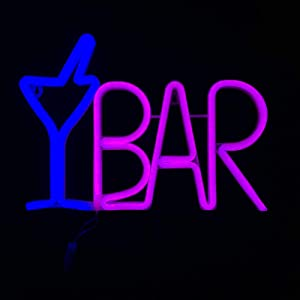 Bar Neon Sign for Business Blue Cocktail Glass & Pink BAR Light Up Letter LED Sign USB Powered 14.57x 10.24x0.98 inch Aesthetic Wall Art Décor for Pub, Bistro, Party,Man Cave,Home,Basement(ABARLAF)