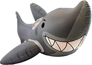 Playtek Ride On Toys Shark Inflatable Pool Float with Handle, Gray