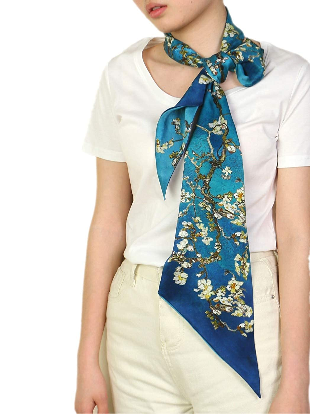prettystern bufanda de seda flaco primavera verano azul corbata ...