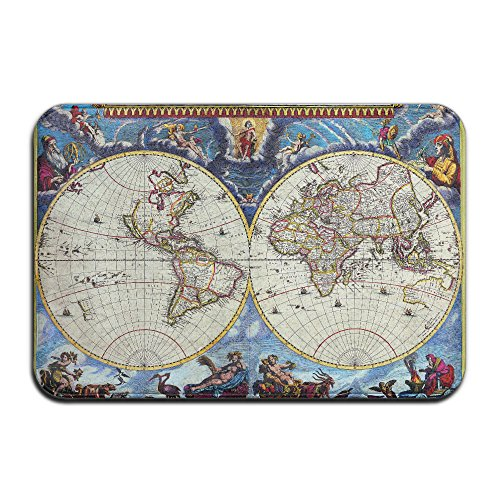 Embroidered Pique Sham (Gods Vintage World Map Non Slip Washable Cozy Durable Doormat For Living Room Bedroom (23.6