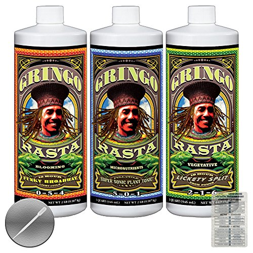 3 Pack Bundle: FoxFarm Gringo Rasta Super Sonic Plant Tonic, Funky Broadway & Lickety Split Liquid fertilizer - 1 Quart Each + Twin Canaries Chart & Pipette