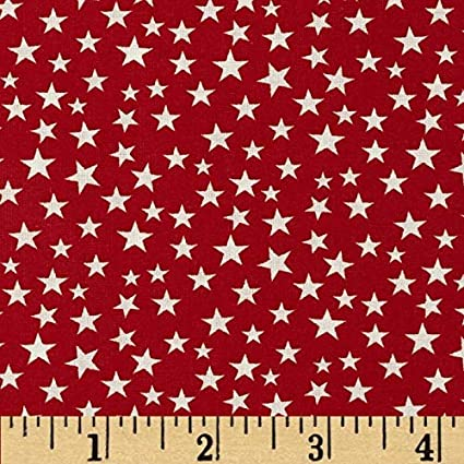 STAR PolyCotton Crafts FABRIC Red STARS Material Reduced Prices NEW