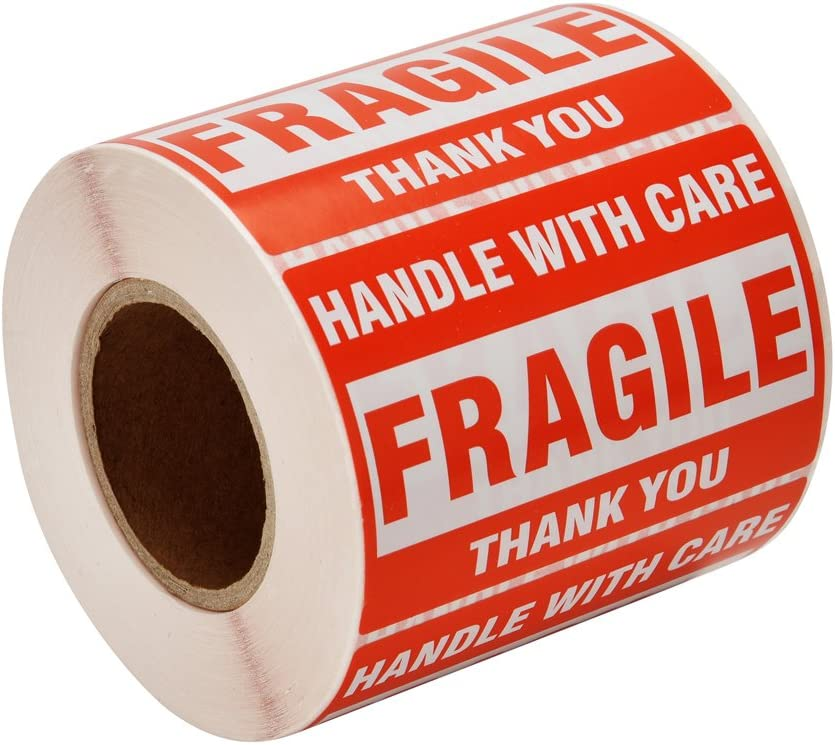 500 Fragile Stickers 2x3 Inch Handle with Care Thank You Red Warning Labels