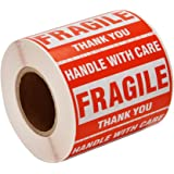 """SJPACK 500 Fragile Stickers 1 Roll 2"""" x 3"""" Fragile - Handle with Care - Thank You Shipping Labels Stickers (500 Labels…"""