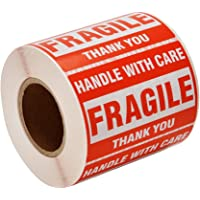 """[1 Roll, 500 Labels] 2"""" x 3"""" Fragile Stickers Handle with Care Warning Packing/Shipping Labels - Permanent Adhesive"""