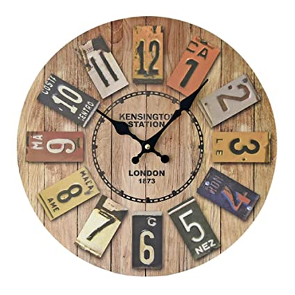 Lecimo Solid Wood European Retro Clock Color Digital Wall Decorative Clock Vintage Wood Wall Clock