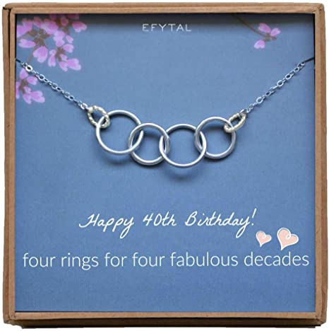 40th Birthday Gift Idea for Woman 4 Rings 4 Decades 40th Gift for Daughter Friend Sister 40th Birthday Necklace