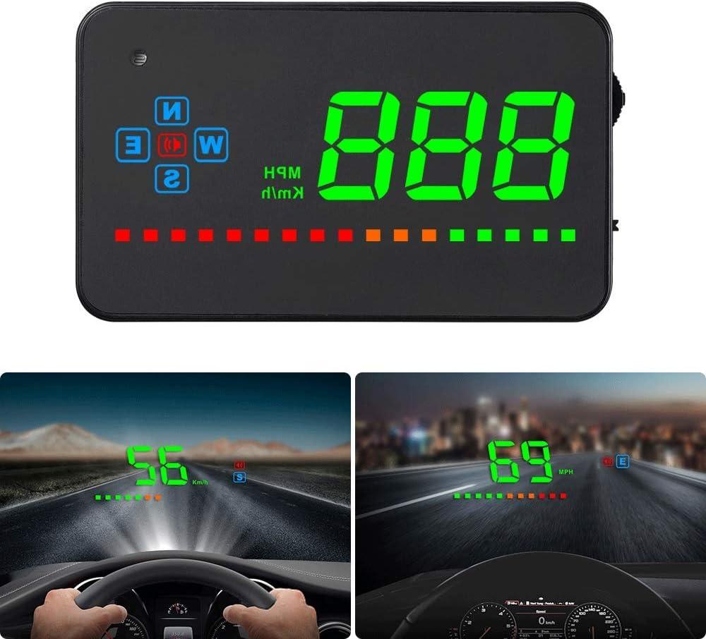 iKiKin HUD GPS Display Coche Encabezar Pantalla para Todos los Coches y Camiones, Proyector de Parabrisas LED, Película de reflexión de HUD, Pantalla de Carro Arriba, Conecta y Reproduce