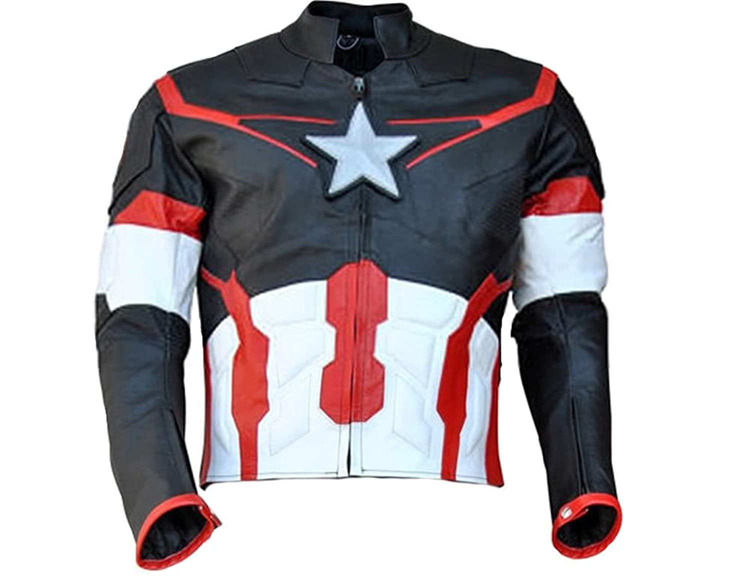 Avengers: Age of Ultron Men's Black Captain America Real Leather Jacket - DeluxeAdultCostumes.com