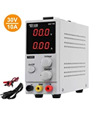 TUFFIOM DC Power Supply Variable 0-10A/0-30V| Portable Adjustable Switching Regulated, 3 Digit LCD Display & Alligator Leads US Power Cord, for Lab/Electronic Repair/DIY/Aging Test, 110V/ 220V
