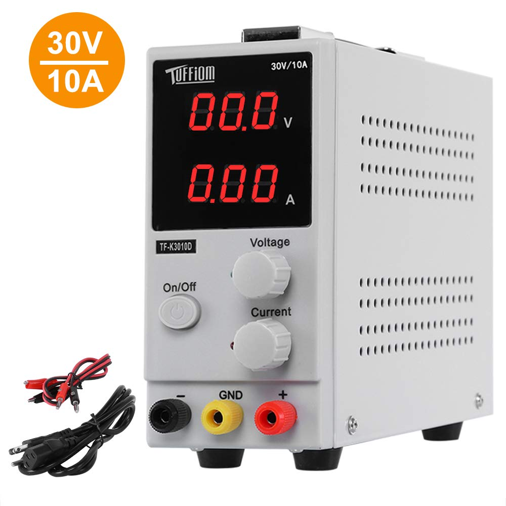 TUFFIOM DC Power Supply Variable 0-10A/0-30V| Portable Adjustable Switching Regulated, 3 Digit LCD Display & Alligator Leads US Power Cord, for Lab/Electronic Repair/DIY/Aging Test, 110V/ 220V by TUFFIOM (Image #1)