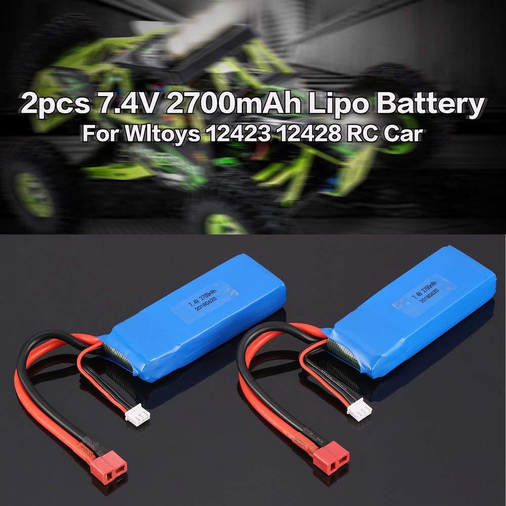 FBDF 2pcs 7.4V 2700mAh Lipo Battery T Plug for Wltoys 10428-A 10428-B RC Car Truck