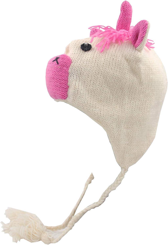 Hat Black Pink Pig Knitted Ladies Mens Kids Fleece lined Nepal Style Ear Flaps
