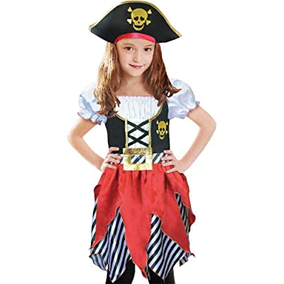 Lingway Toys Girls Deluxe Pirate Buccanner Princess Costume for Kids Size3-4, 5-6,7-8,9-10: Clothing