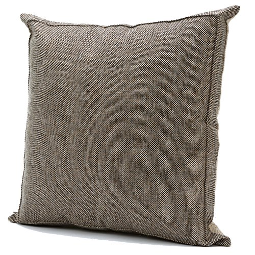 Burlap Linen Throw Pillow Case Cushion Cover Home Decorative Solid Square Pillowcase, Thick, Luxury, Handmade with Invisible Zipper for Sofa Couch Bed (18 x 18 Inches, Beige/Light (High Rustic Brown Outdoor Light)