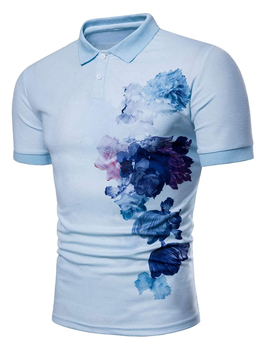 YUNY Men Fit Pullover Lapel Leisure Short Sleeve Fashion Chinese Style Printed Polo Shirt Sky Blue 3XL
