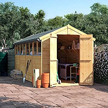 Billyoh 16x6 Tongue And Groove Wooden Garden Shed Double Door