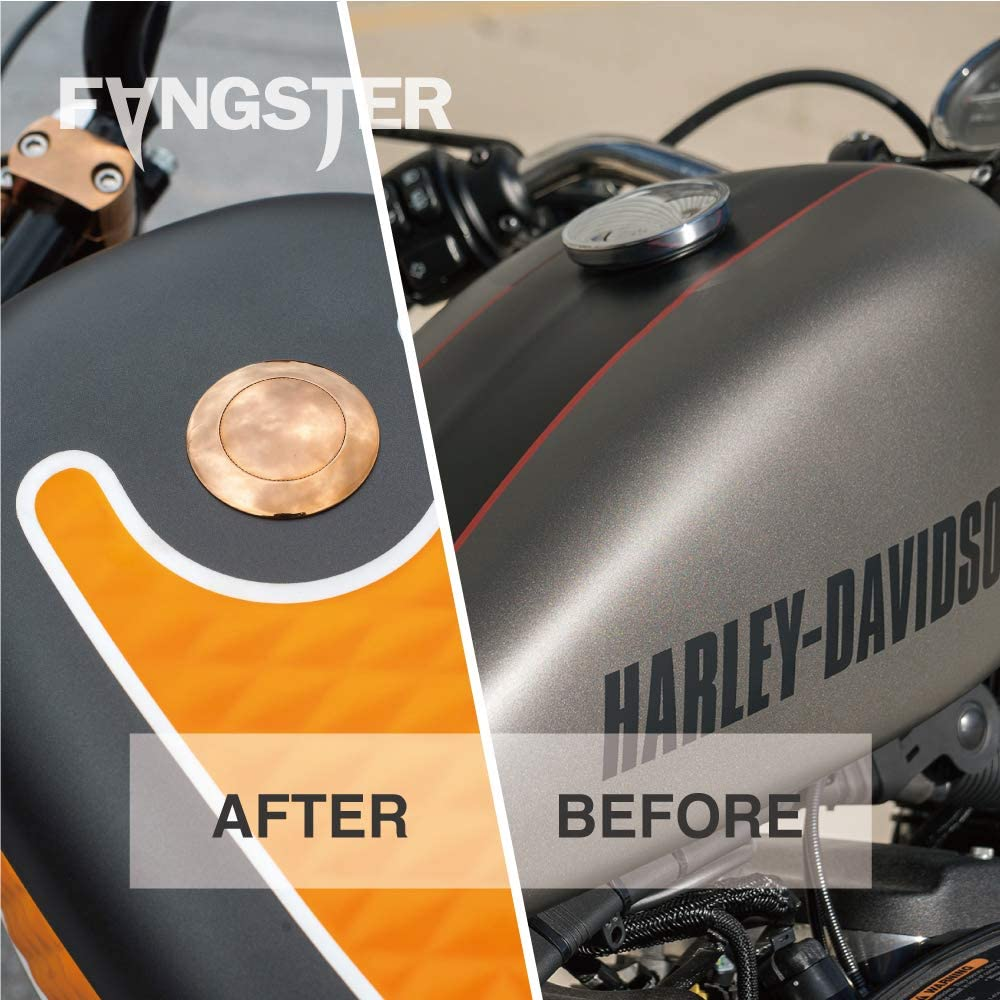 FANGSTER POP-UP GAS CAP CHROME WITH FANGSTER GOLD FOR HD 92-17 DYNA 92-20 SPORTSTER 00-20 SOFTAIL 94-20 ROAD KING