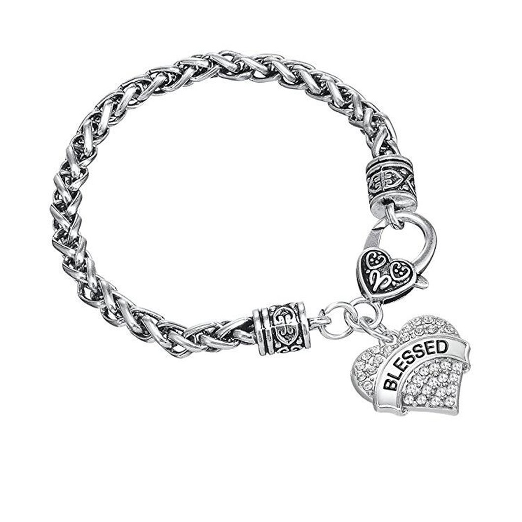 Huilin Heart Clear Crystal Word Blessed Charm Lobster Claw Bracelet Hobby Love Jewelry Gift for Women