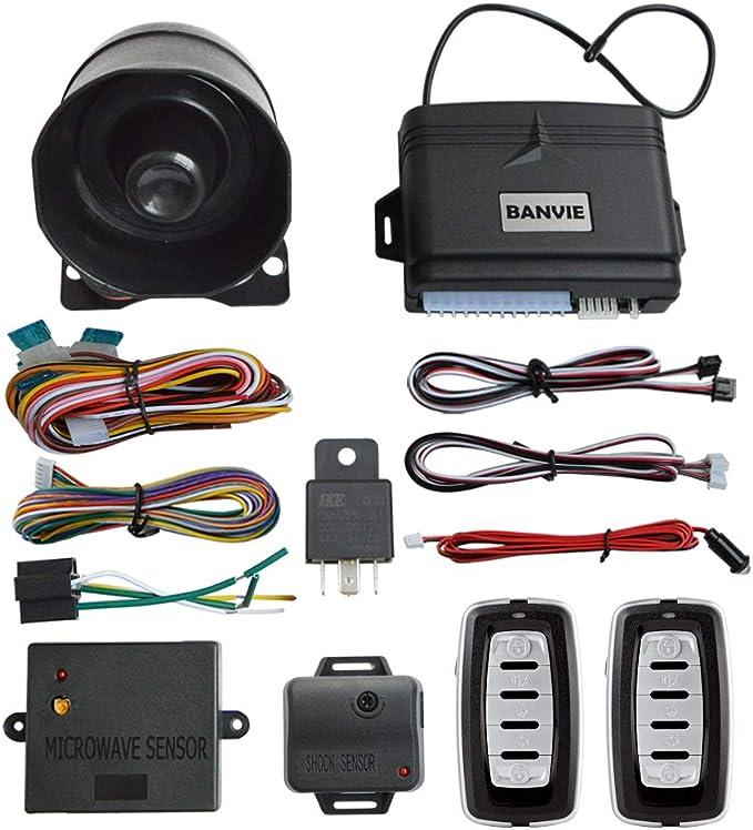 Amazon.com: BANVIE Car Security Alarm System with Microwave Sensor & Shock  Sensor: Car Electronics | Car Alarm Remote Start Installation Wiring Diagram Cd |  | Amazon.com