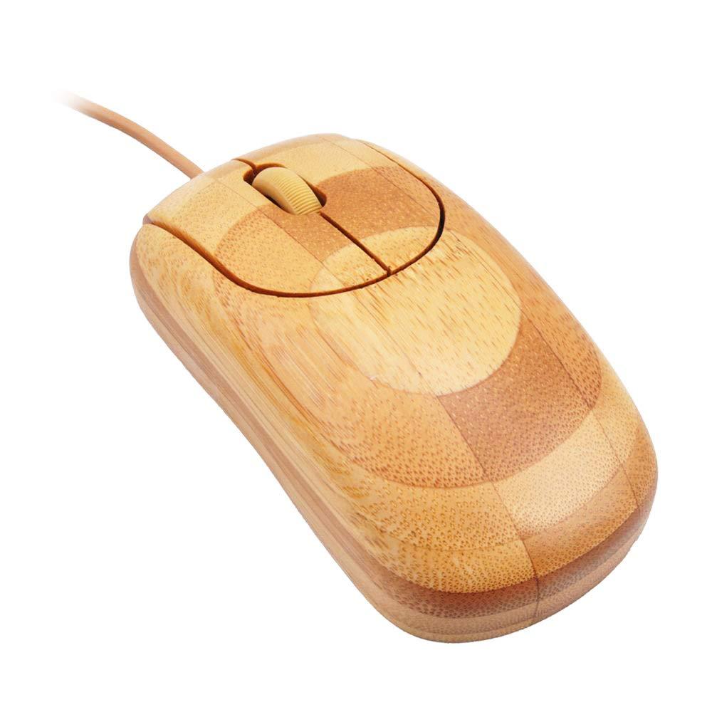 Ratón óptico con Cable bambú