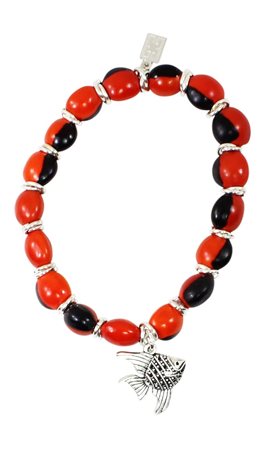 Eco-friendly Peruvian Gift Bracelet for Women - Huayruro Red Black Seeds - Fish Charm - Handmade Jewelry By Evelyn Brooks