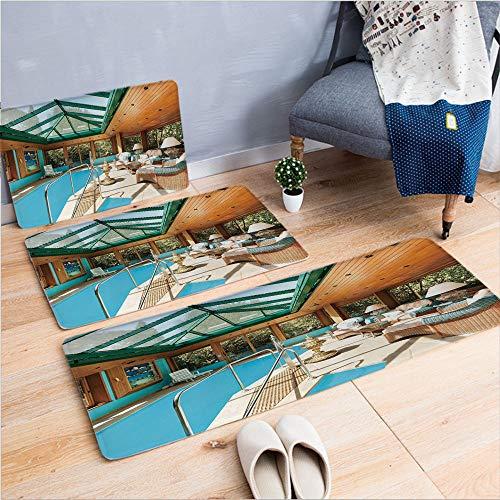 3 Piece Non-Slip Doormat 3d print for Door mat living room kitchen absorbent kitchen mat,Large Indoor Pool Furniture Sunrays Leisure Time,15.7