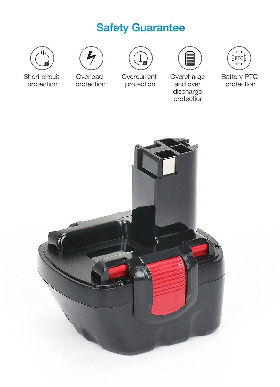 2607335273 2607335692 2607335262 2607335542 BAT043 BAT120 BAT139 PSR12 VE-2 2-Pacchi REEXBON Batteria per Bosch 12V 3.0Ah NIMH Compatibile con Bosch PSR 12 PSR 1200