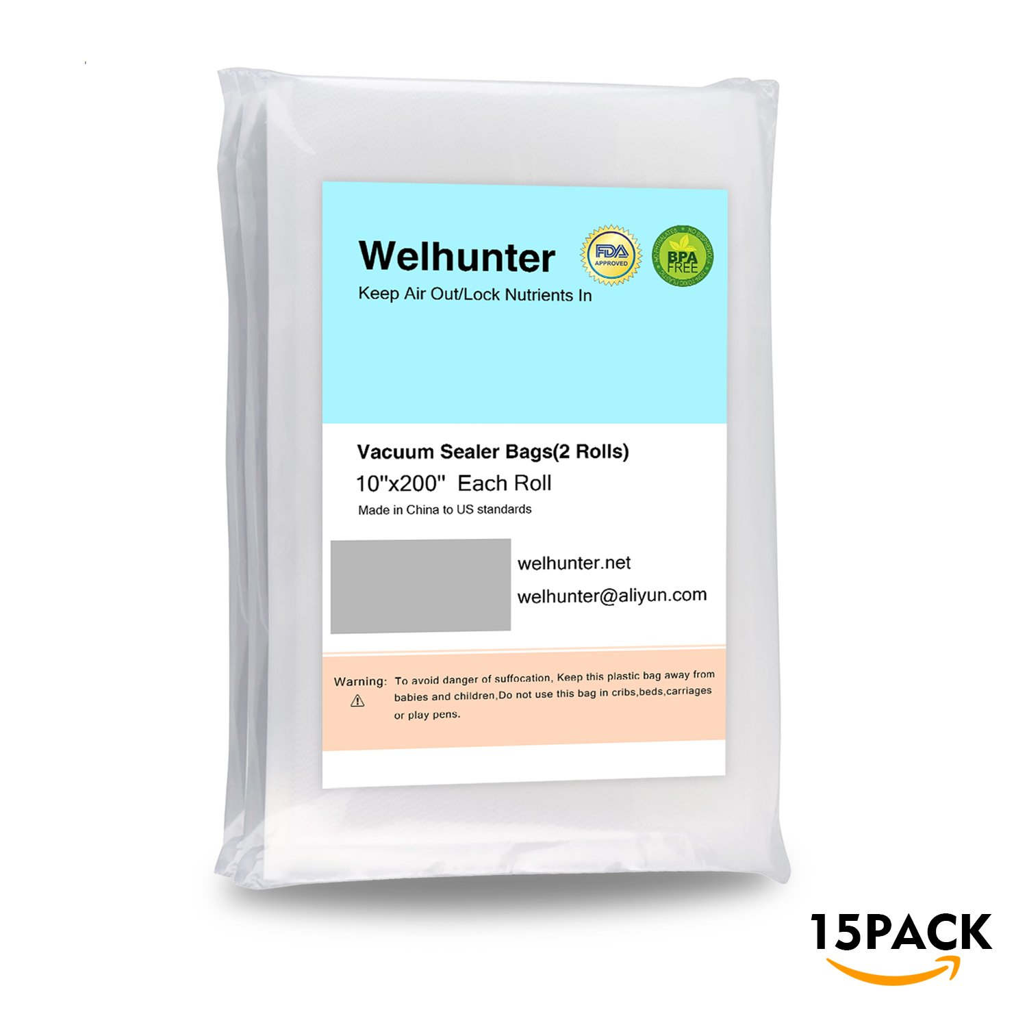 Welhunter Vacuum Sealer Bags with Length 10 inch and Height 8 inch,Commercial Grade Bag for all Vacuum Sealers and Food save
