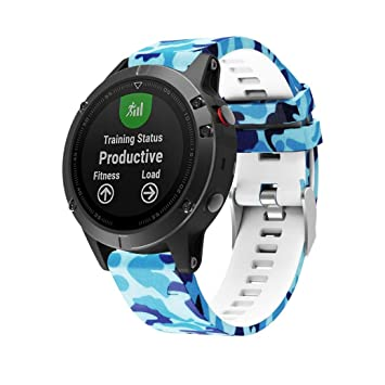 Para Garmin Fenix 5 reloj GPS banda de repuesto de camuflaje, Y56 Printing Silicagel Quick Install correa de reloj suave para Garmin Fenix 5 reloj GPS: ...