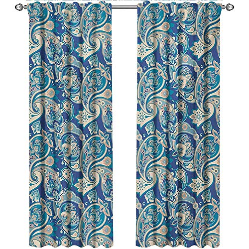 Paisley, Country Curtains Valance, Authentic Asian Inspired Floral Persian Fashion Boho Art Illustration Print, Curtains for Boys Room, W72 x L96 Inch, Teal Navy and Tan