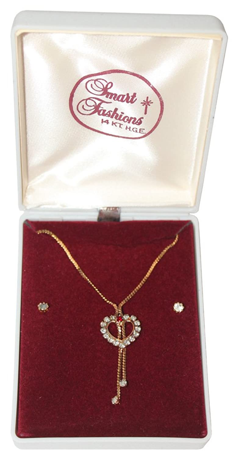 Fashion Rhinestone Heart Necklace with Ruby Colored Stone and Studded Rhinestone Earrings