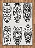 Kabuki Mask Area Rug by Ambesonne, Japanese Nogaku Theatrical Masks Showing Emotions Expressions Culture, Flat Woven Accent Rug for Living Room Bedroom Dining Room, 5.2 x 7.5 FT, Black and White
