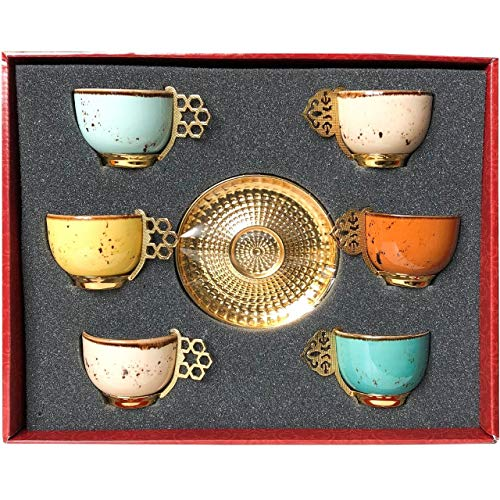 Alisveristime 12 Pc Turkish Greek Arabic Coffee Espresso Cup Saucer Porcelain Set Mixed Color (Arabic Dishes Set)