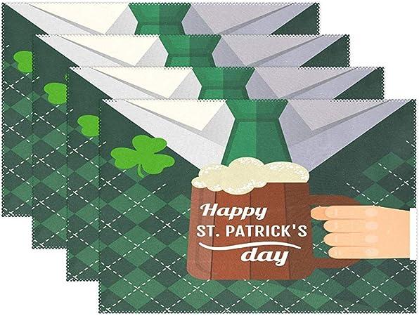 Esteras Happy Irish St. PatrickS Day Placemat Juego De 6 Tapetes De Mesa Sombrero De Duendes Verdes Manteles De Trébol Manteles Individuales Manteles Para El Hogar Decoración Para El Hogar Alfo: Amazon.es: