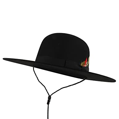 Trendy Apparel Shop Wool Panama Undertaker Flat Brim Hats with Feather -  Black - S 0cee0ab9886