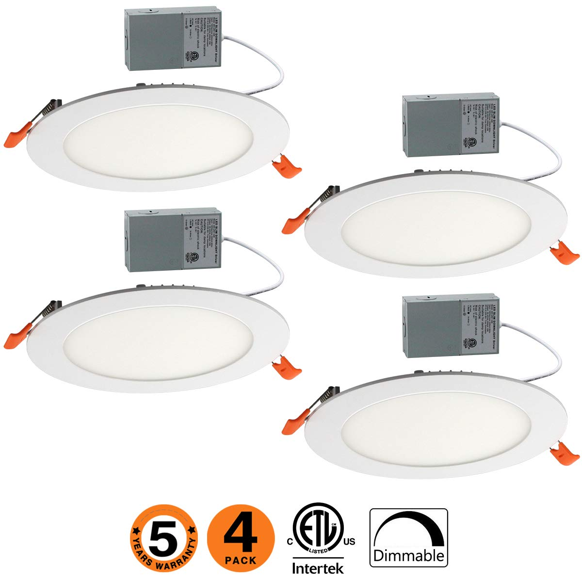 OOOLED 6 Inch Slim Downlight Dimmable 12W (=100W) Led Downlight 850LM 3000K Warm White cETLus listed Recessed Trim Ceiling Light Fixture, led ceiling light,4 Pack (3000K Warmlight) VVVLIGHT