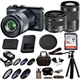 Canon M100 Mirrorless Camera Black w/ 15-45mm & 55-200mm Lenses + 16GB SD Card Bundle