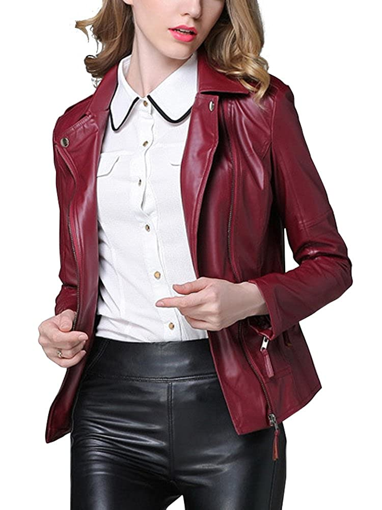 Women's PU Leather Short Motorcyle Outwear Bomber Jacket US-NV45-MWOUT15160-08