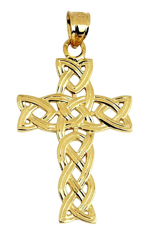 10k Yellow Gold Celtic Trinity Cross Pendant