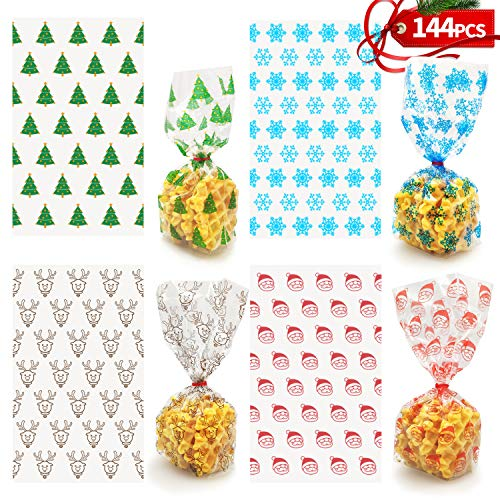 KD KIDPAR 144 Pcs Christmas Cookie Bags with Red Ribbons for Gift Bags, Christmas Cellophane Treat Bags Christmas Cello Candy Bags, Xmas Goody Bags, Holiday Goodie Bags and Christmas Party Favors