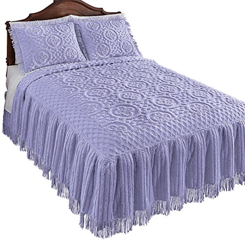 Collections Etc Matrix Lattice Chenille Bedspread, Lavender, Queen (Chenille Floral)