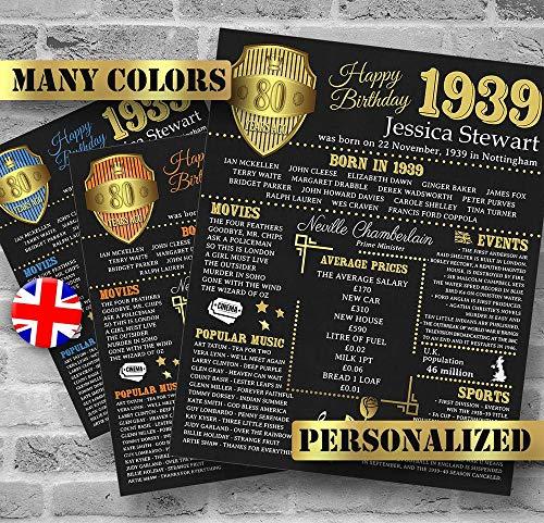 astoriagears Personalized 80th Birthday Poster, UK Version, 1939 Facts, 80 Birthday Gift, Custom Birthday, 1939 Birthday Decoration, Digital JPG or PDF No-Frame -
