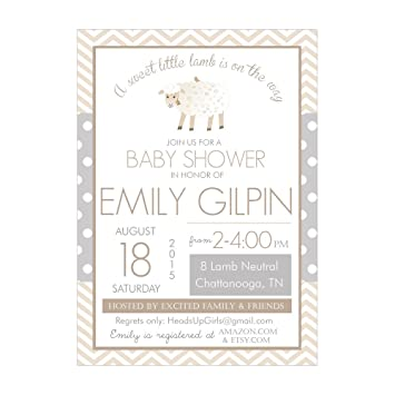 Set Of 12 Customizable Personalized Baby Shower Invitations And Envelopes  With Little Lamb Gender Neutral NV084