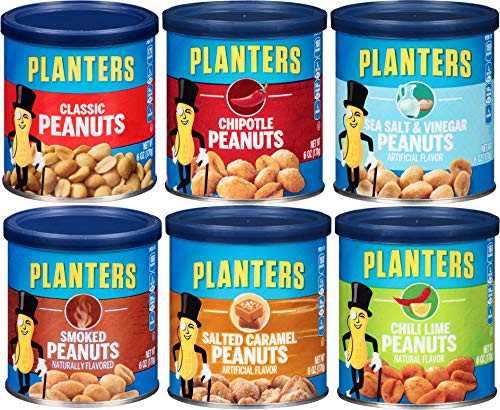 Planter's Peanut Variety Pack, 6 oz cans (Pack of 6) - Smoked, Sea Salt & Vinegar, Classic, Salted Caramel, Chipotle, Cocoa or Chili Lime