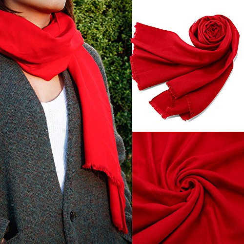 Oct17 Women Large Scarf Soft Cashmere Feel Pashmina warm Shawls Wraps Winter Fall Scarfs Solid Color Light Weight Scarves - (Eyelash Scarf)