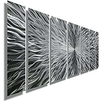silver contemporary metal wall art abstract home decor accent modern panel wall. Black Bedroom Furniture Sets. Home Design Ideas